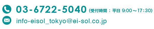 電話:03-6722-5040(受付時間:平日 9:00から17:30)、e-mail:info-eisol_tokyo@ei-sol.co.jp