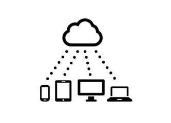 一つのクラウドが様々なデバイスとつながっているイメージのアイコン